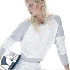 Blanc Noir Crop Textured Sweatshirt Thumbholes Top